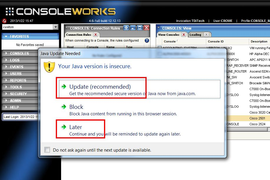 ConsoleWorks Java Terminal Emulator Issues with Java Plugins